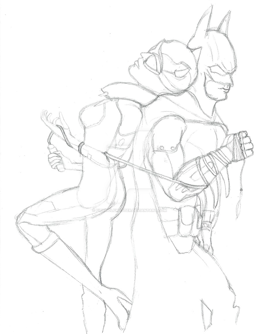 900x1158 Batman And Catwoman Lineart By Firewolfmaster