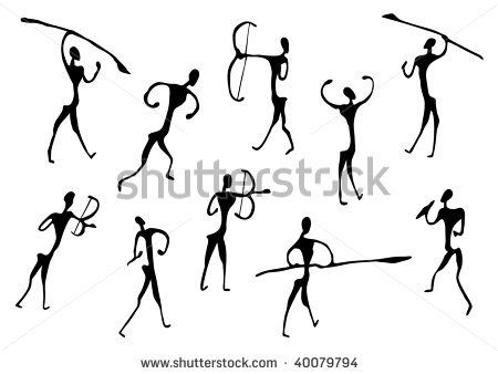 450x338 Cave Drawings Of Ancient Hunters, Silhouettes By Bicubic, Via