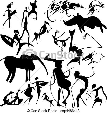 447x470 Cave Painting. Cave Painting On A White Background. Vector
