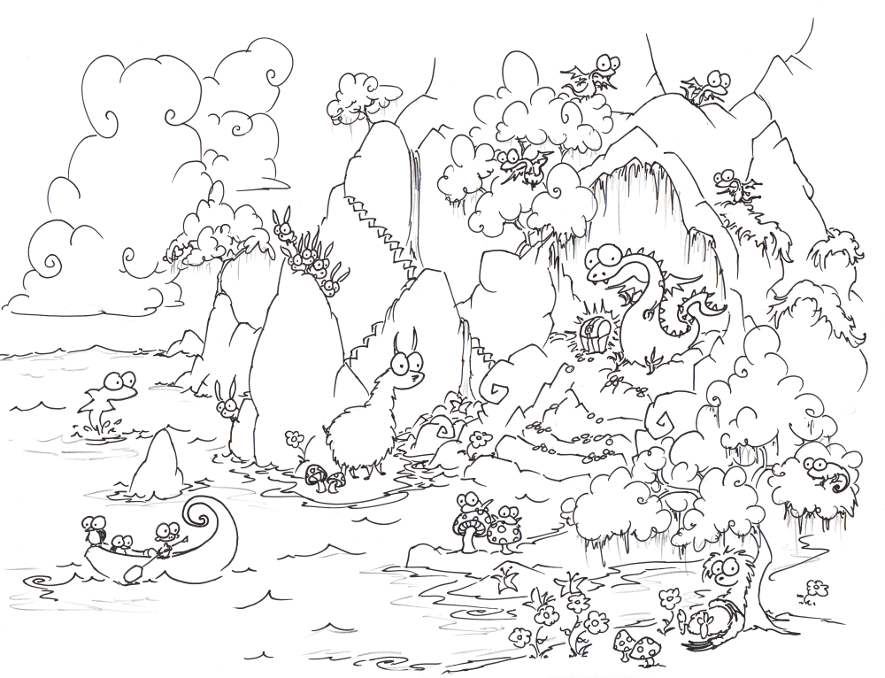 1000x766 A Free Coloring Page Of Adragon In A Cave With Treasure And Baby