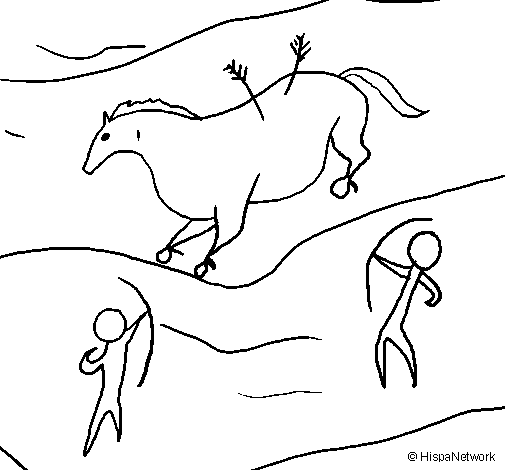505x470 Cave Art Coloring Sheets Coloring Page Cave Painting Colored By