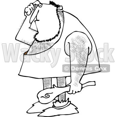 400x400 Of An Outlined Dumb Caveman Scratching His Head And Holding A Club