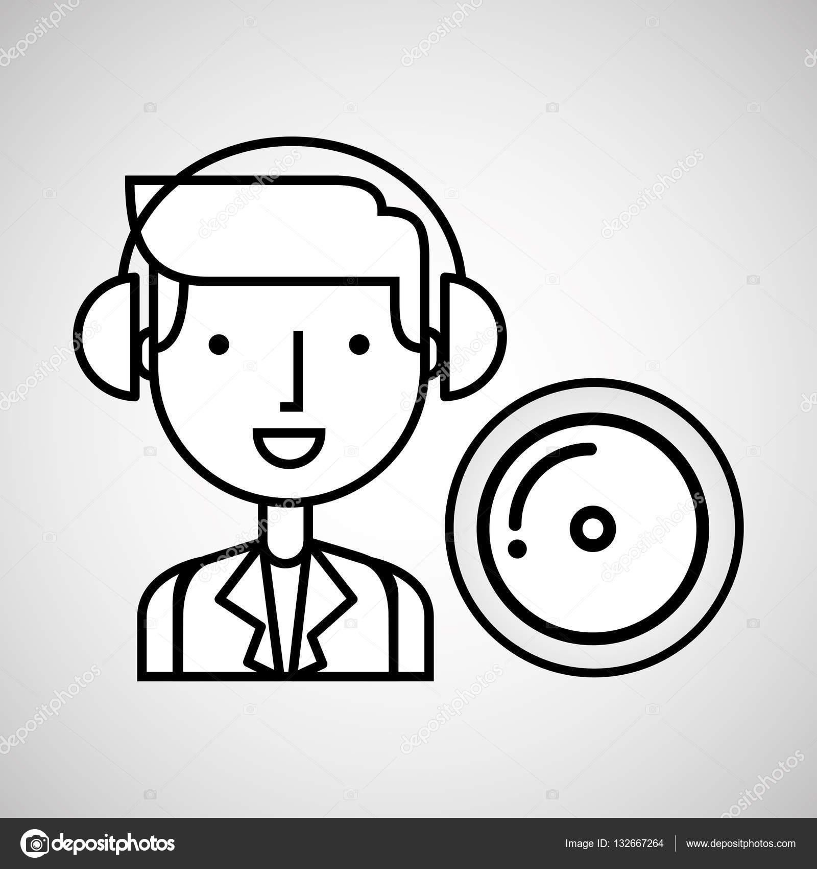 1600x1700 Man Hand Drawing Listening Music Cd Stock Vector Yupiramos