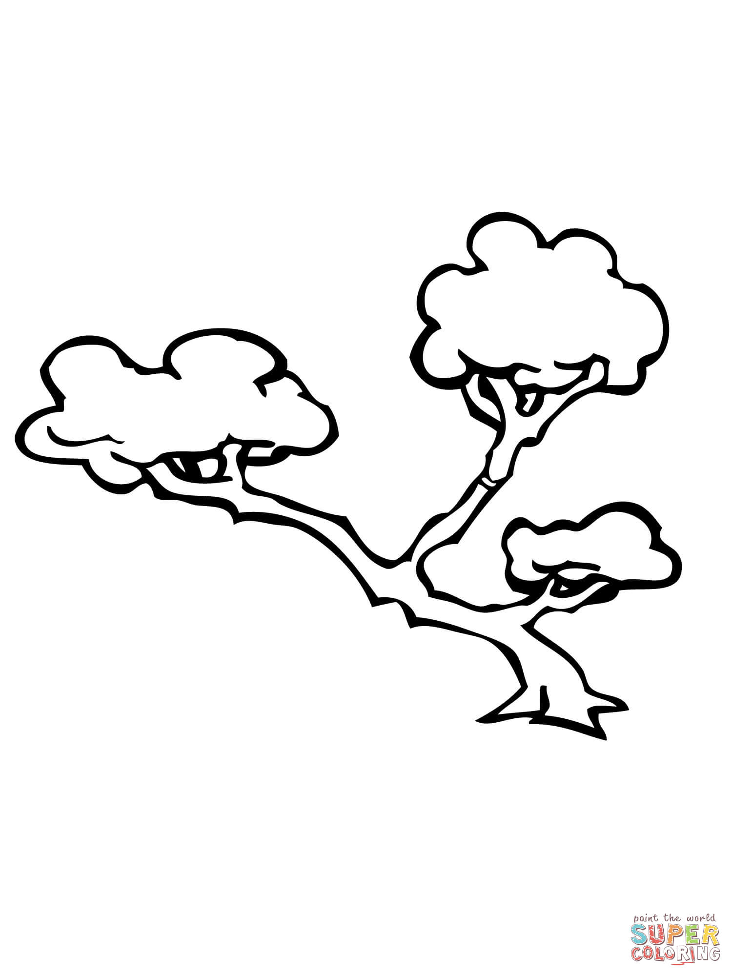 1500x2000 Bonsai Tree Coloring Page Free Printable Pages