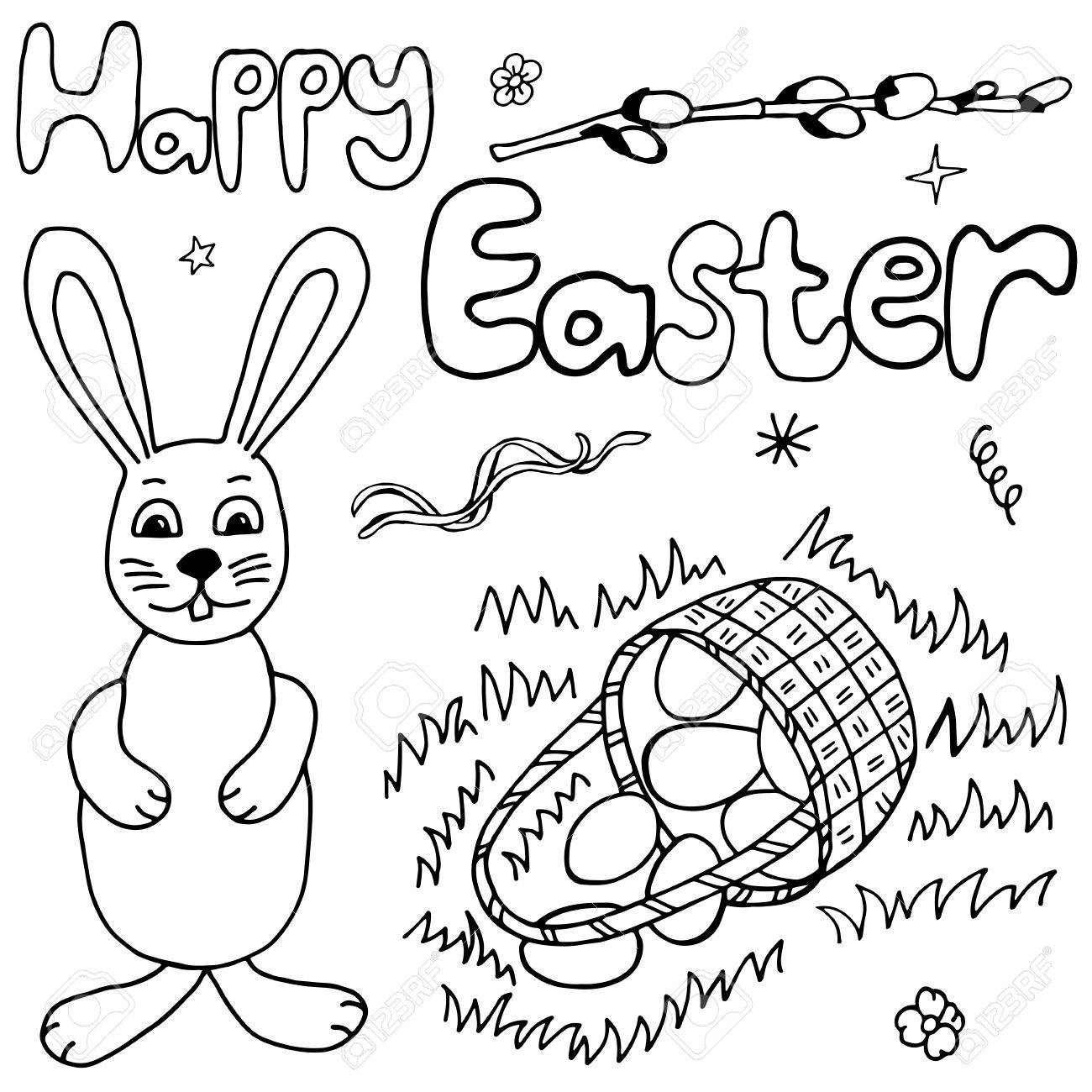 1300x1300 Happy Easter Hand Drawing Banner With Handwritten Letters. Ideal
