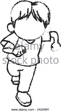 256x470 Sketch Little Boy Young Cheerful Celebration Stock Vector Art