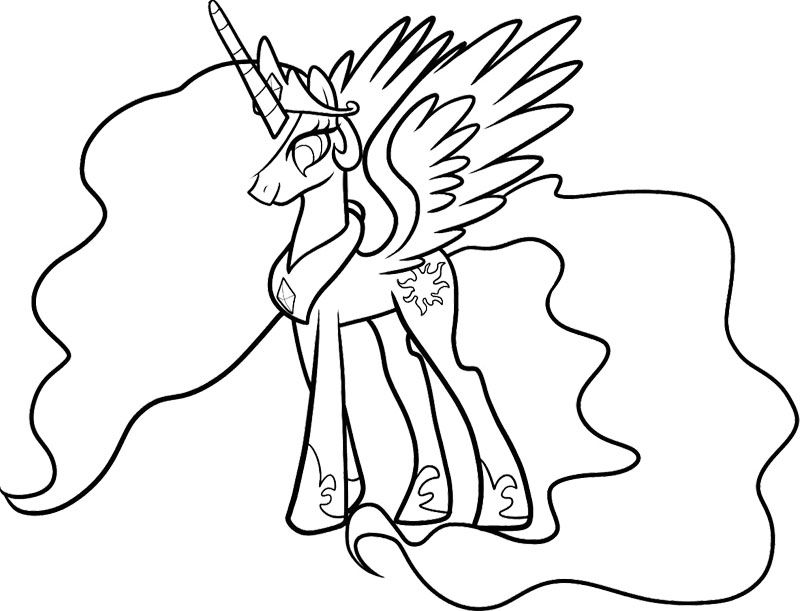800x611 Celestia My Little Pony Coloring Page My Little Pony