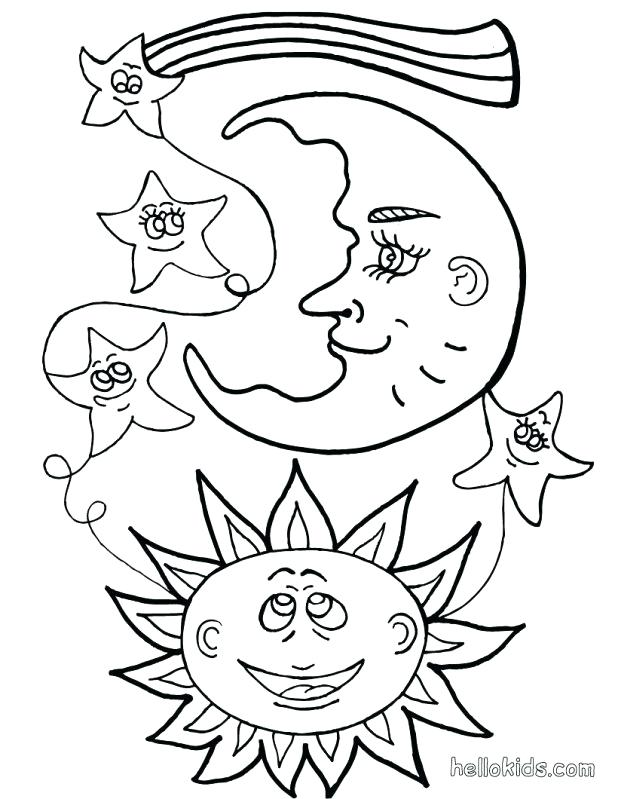 618x799 Sun And Moon Coloring Pages The Moon Stars Sun And Moon Coloring