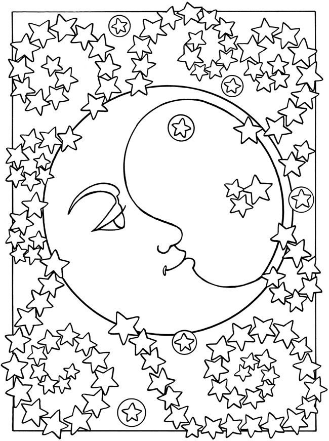 650x871 Adult Coloring Page Moon Sun Stars The Moon And The Stars 1