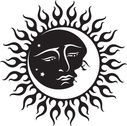 407x405 Celestial Sun And Moon Black And White Tattoo Inspiration