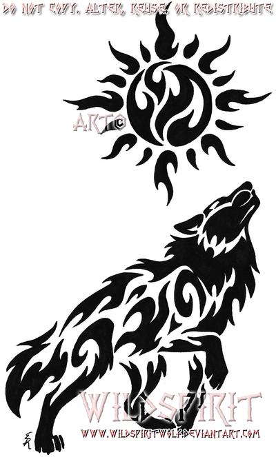 400x663 Celestial Sun Wolf Tattoo By Wildspiritwolf