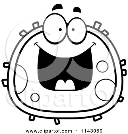 450x470 Cartoon Clipart Of A Black And White Evil Blood Cell