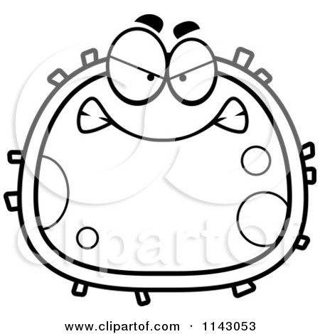 450x470 Cartoon Clipart Of A Black And White Mad Blood Cell