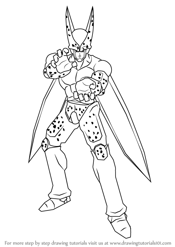 598x844 Learn How To Draw Cell From Dragon Ball Z (Dragon Ball Z) Step By