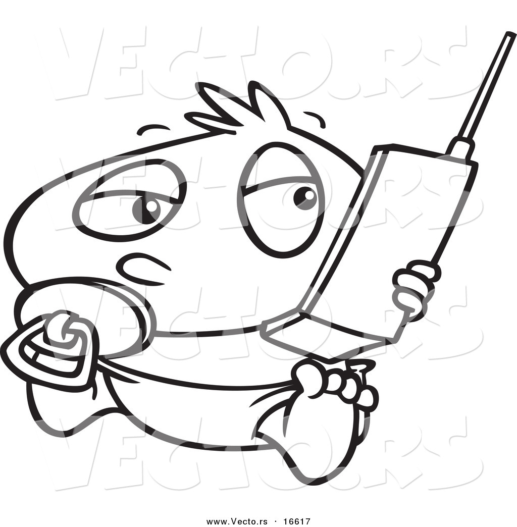 1024x1044 Vector Of A Cartoon Baby Boy Using A Cell Phone