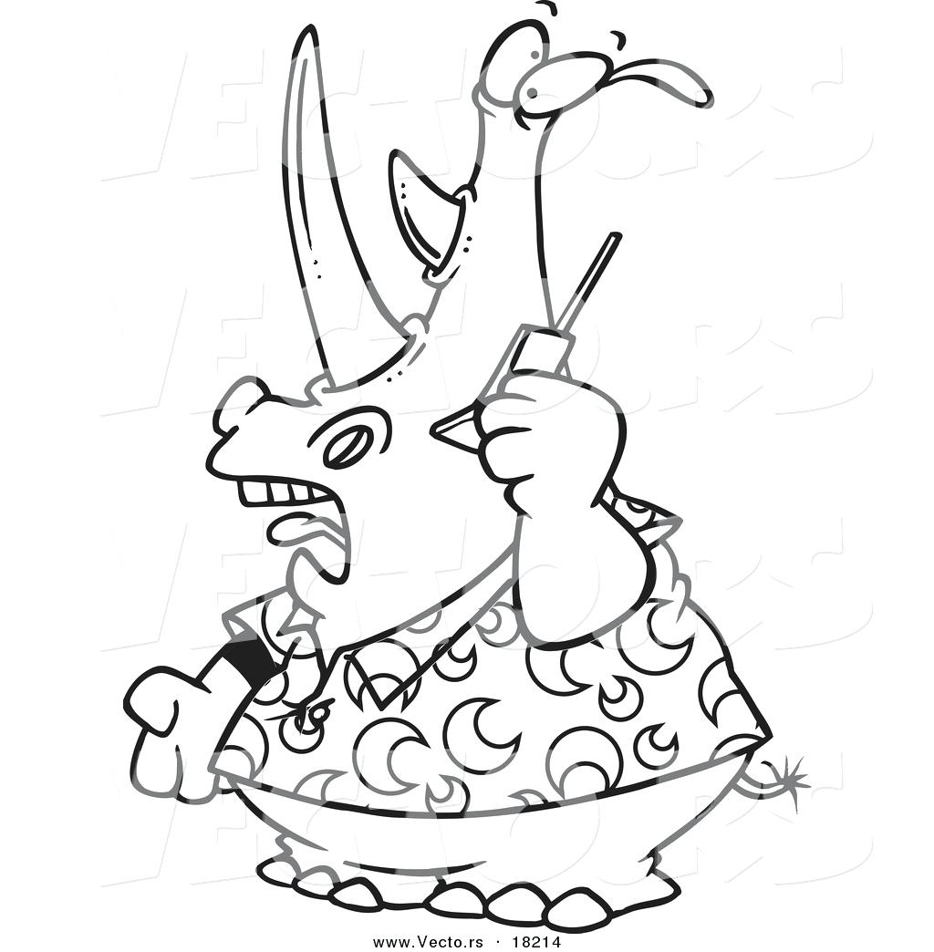 1024x1044 Coloring Cell Phone Coloring Page Vector Of A Cartoon Rhino Using
