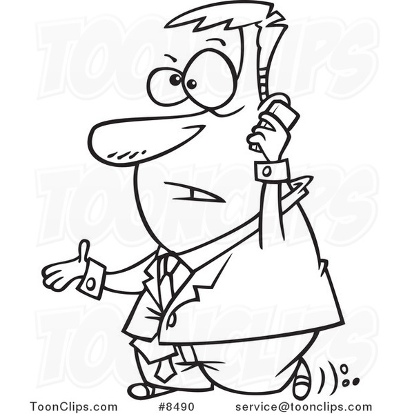 581x600 Cartoon Black And White Line Drawing Of A Walking Business Man
