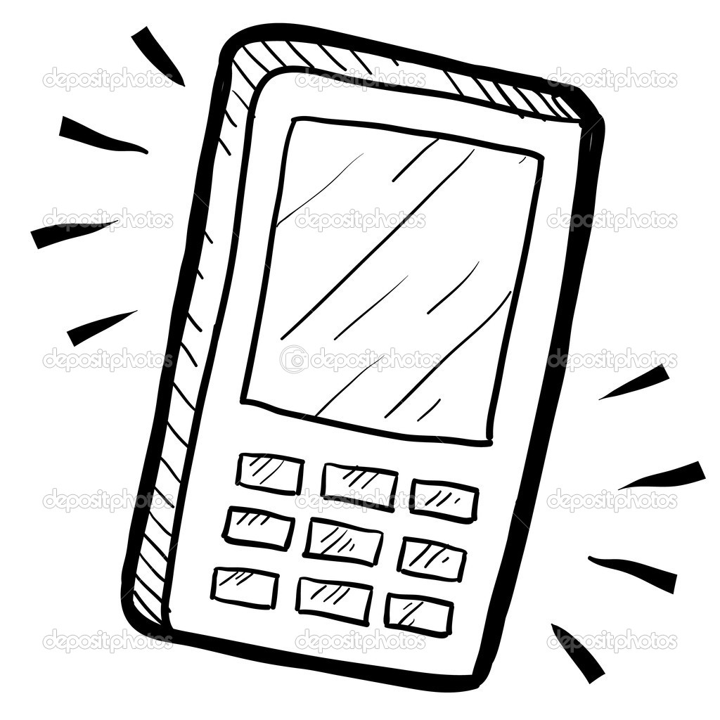 1024x1024 Cell Phone Drawing Mobile Phone Sketch Stock Vector