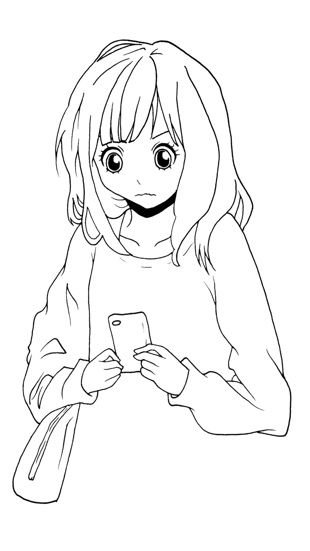 1024x1820 Confused Girl Holding A Cell Phone By Dezeya