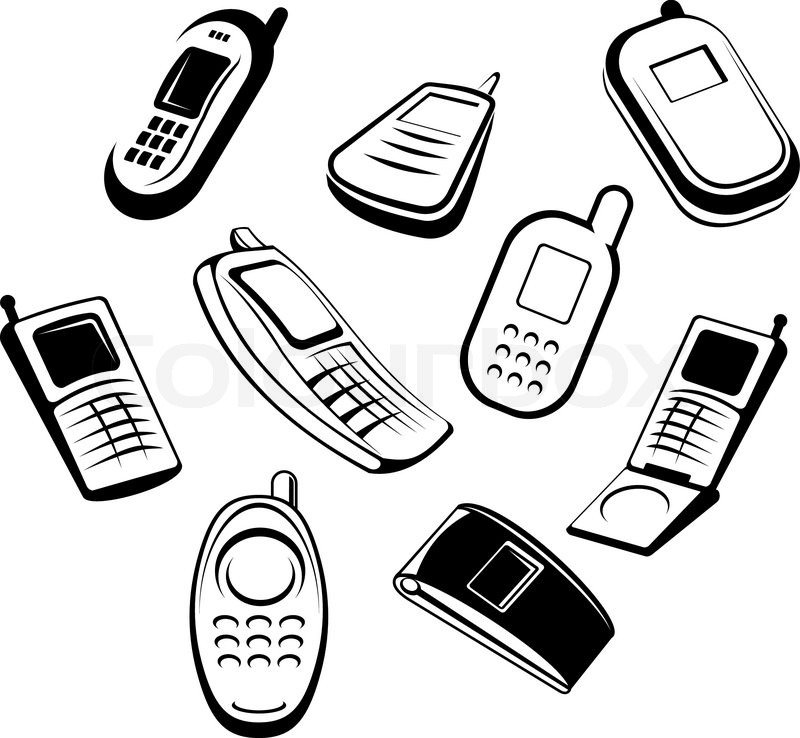 800x738 Set Of Mobile Phones For Communication Design Or Global Concepts