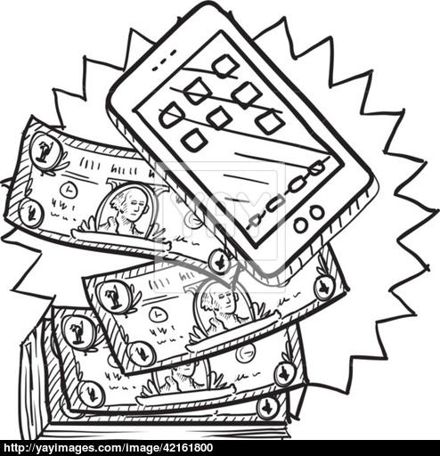 494x512 Cell Phones Are Expensive Sketch Vector