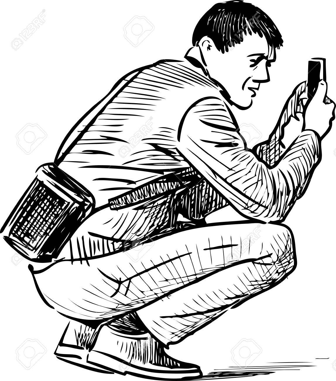 1148x1300 A Man Takes A Photo On A Cell Phone Royalty Free Cliparts, Vectors