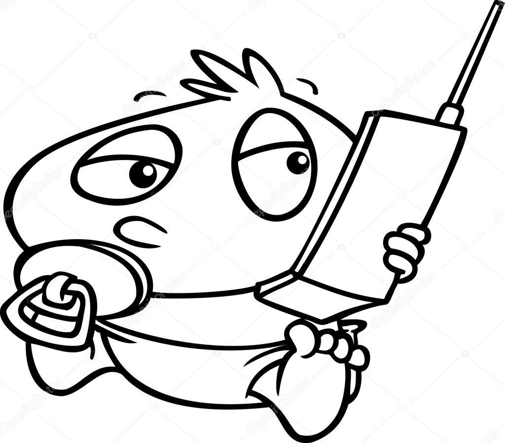 1024x900 Cartoon Baby Girl Cell Phone Stock Vector Ronleishman