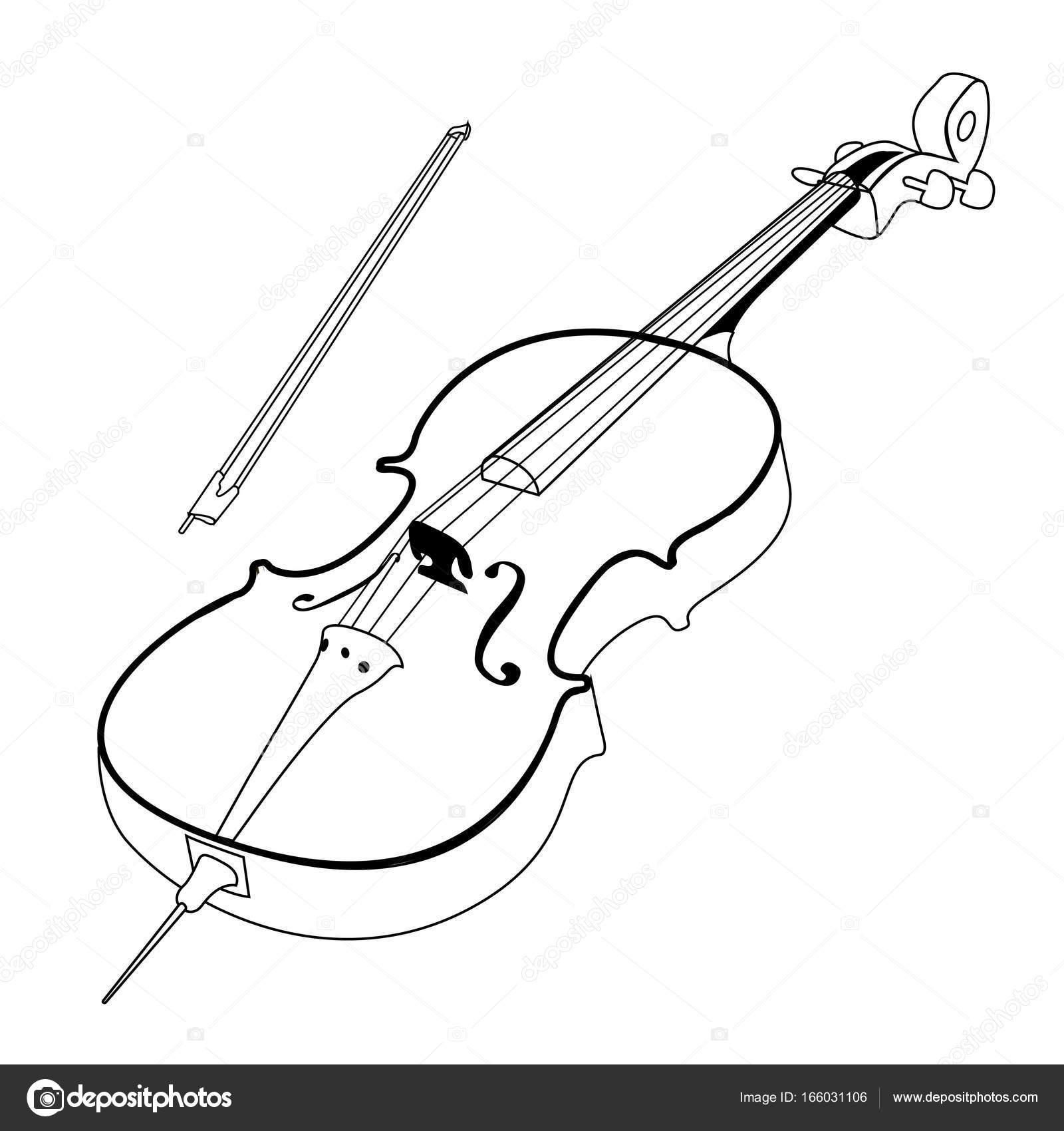1600x1700 Isolated Cello Outline Stock Vector C LAUDiseno