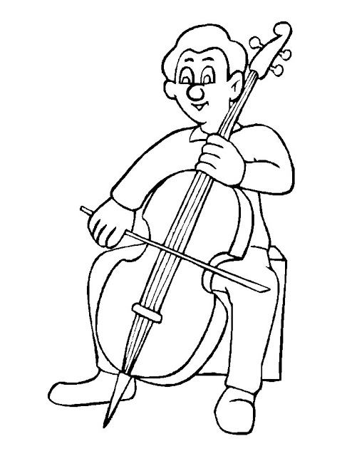 Coloring pages of string instuments ~ Cello Drawing Outline at GetDrawings.com   Free for ...