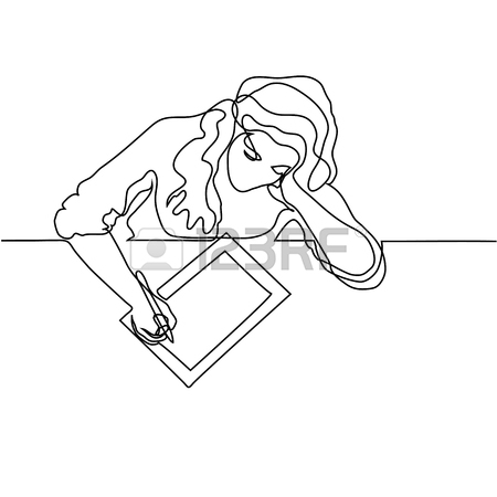 450x450 Continuous Line Drawing. Young Woman Showing Smartphone To Her