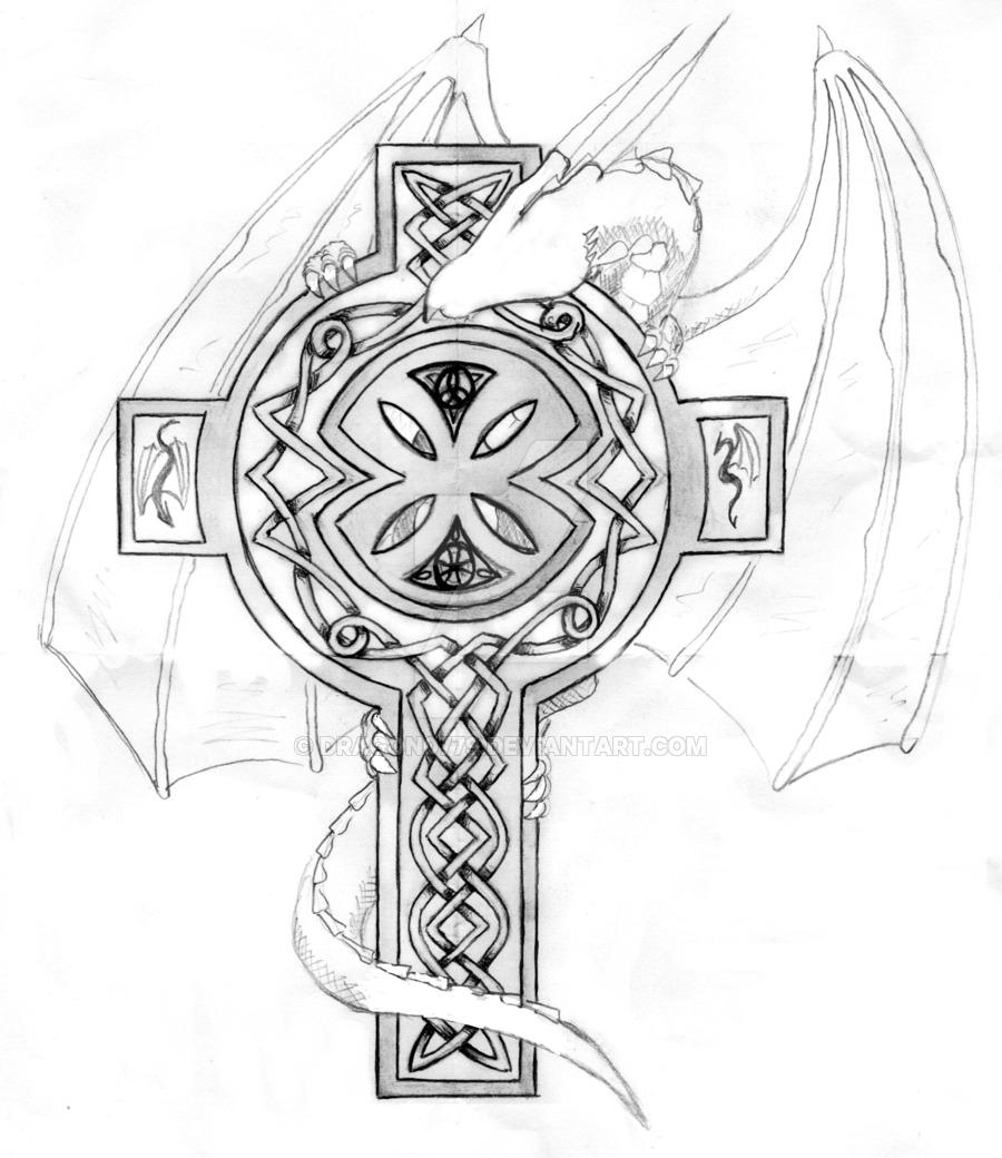 900x1040 Dragon Celtic Cross By Dragon0779