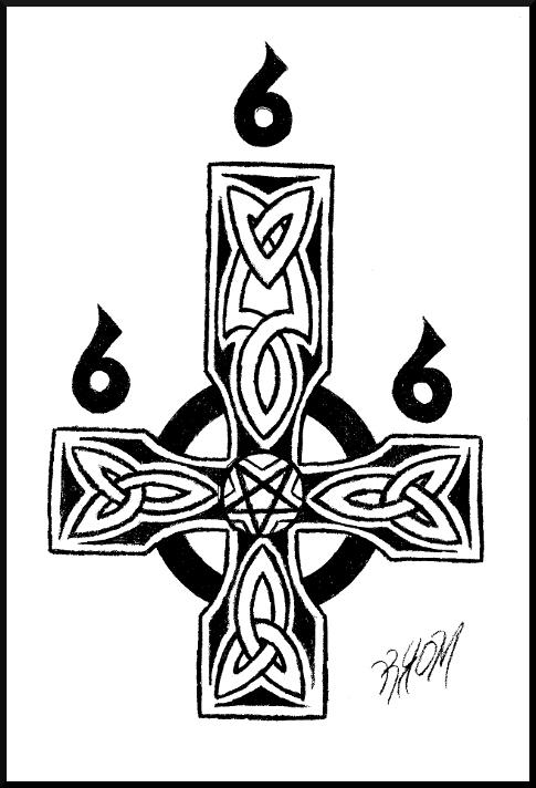 485x712 Satanic Celtic Cross By Tehmafrath