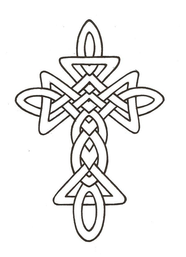 600x828 Celtic Cross Line Drawing