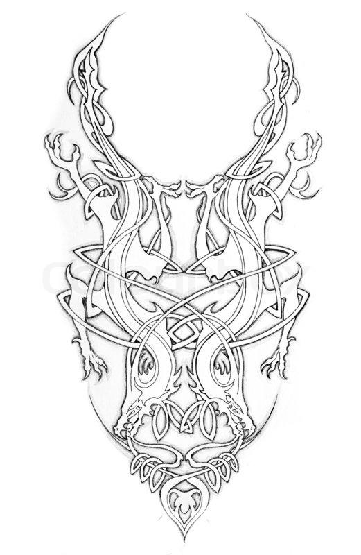521x800 Sketch Of Tatto Art, Celtic Design Stock Photo Colourbox