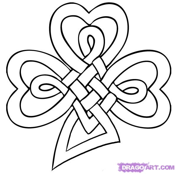 597x590 Celtic Knots To Print And Color Celtic Knot Shamrock Tattoo