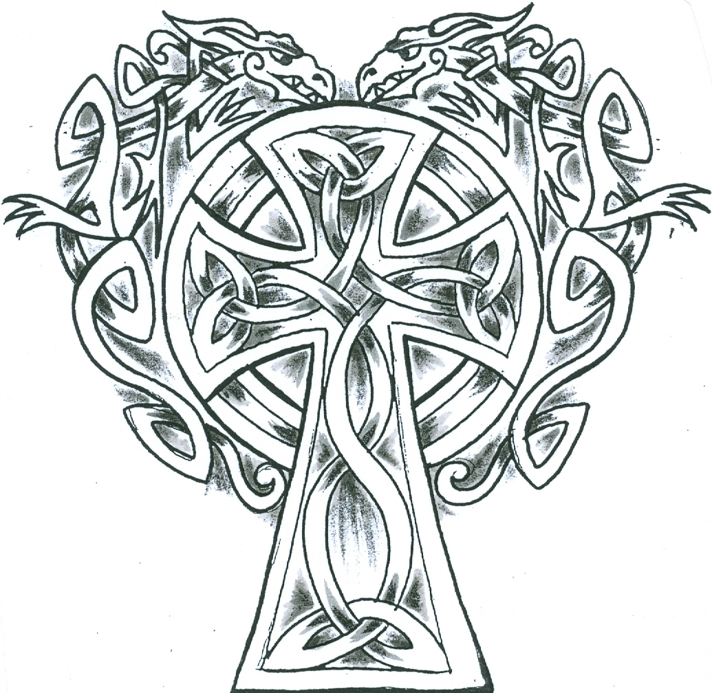 1035x1008 Irish Crosses Knotwork Celtic Cross With Two Celtic Dragons