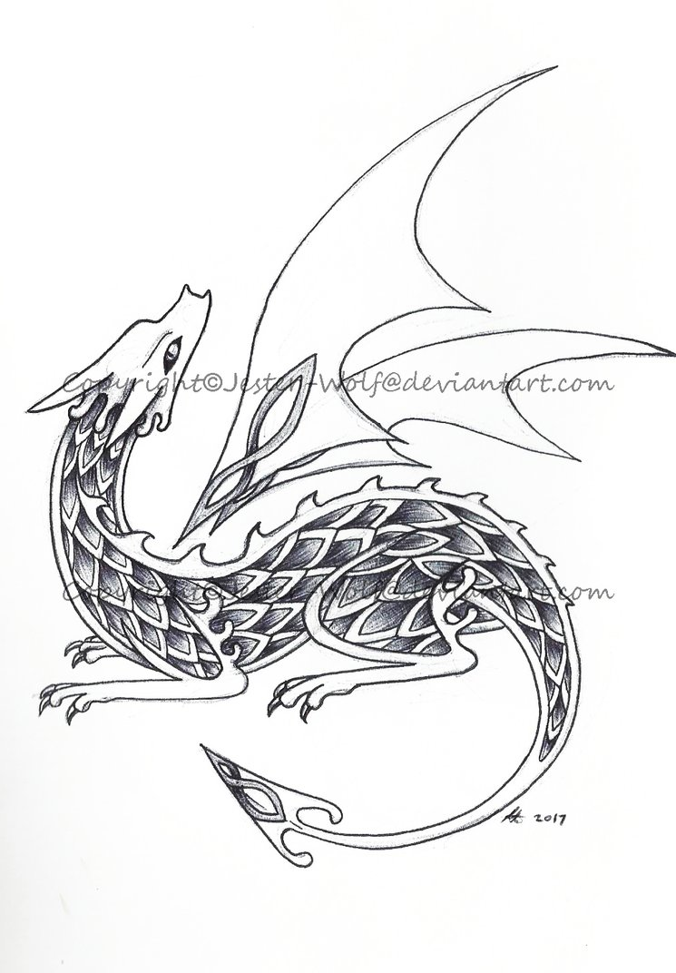 745x1072 Celtic Dragon Curled By Jester Wolf