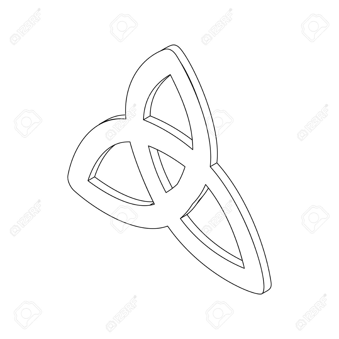1300x1300 Triquetra Celtic Knot Symbol Icon, Isometric 3d Style. Black