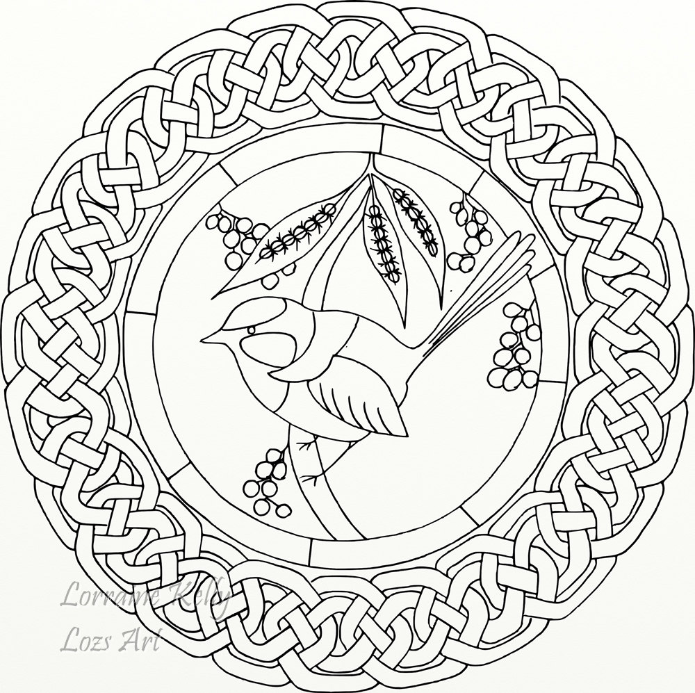 1000x997 Adult Colouring In Page Mandala Blue Wren Bird Celtic Knot