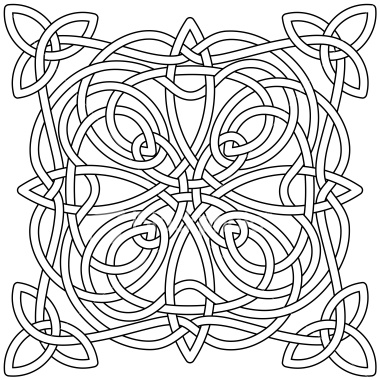 380x380 Complex Celtic Knot, As A Black Outline, Ready For You To Fill