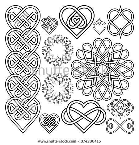450x470 Set Hearts Intertwined In Celtic Knot. Twelve Items Embroidery