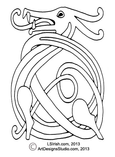 396x540 Wood Carving A Celtic Dragon Knot Pattern By Lora S Irish