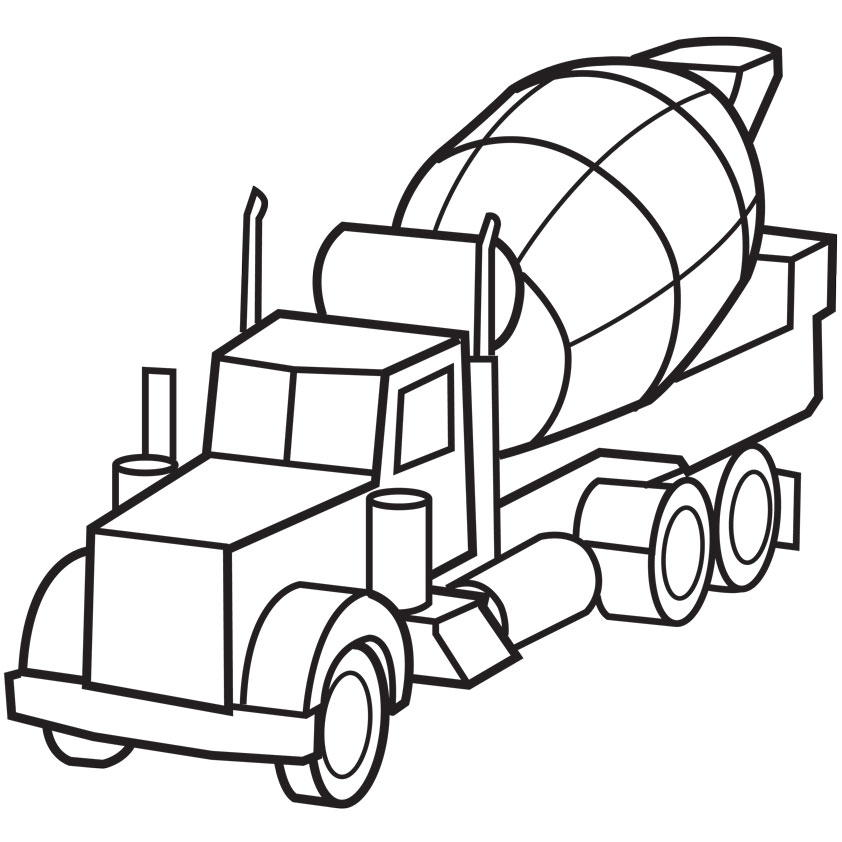 842x842 Cement Truck Coloring Page Clipart Panda