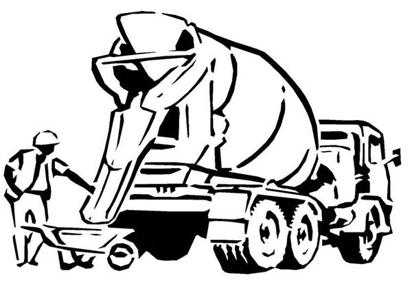600x433 Cement Truck For Construction Work Coloring Page