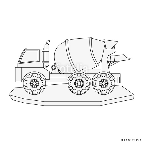 500x500 Cement Truck Heavy Machinery Construction Icon Image Vector
