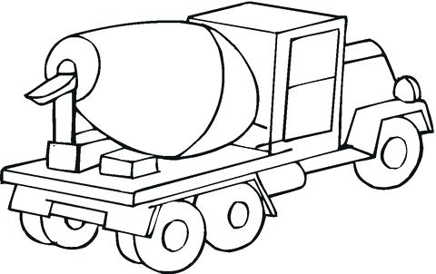 480x302 Cement Mixer Coloring Pages Car Transporter Cement Truck Outline