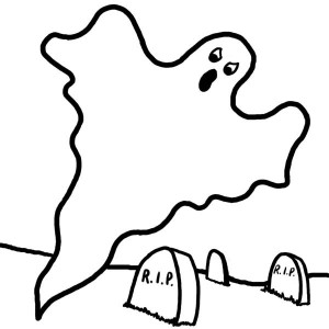 300x300 Ghost, Ghost In Cemetary Coloring Page Ghost In Cemetary Coloring
