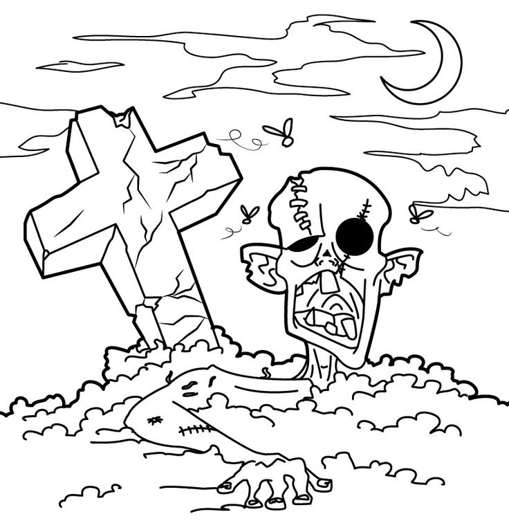 736x766 Graveyard Coloring Pages