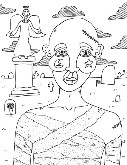 426x550 Untitled Cemetery Drawing Posters By Monstermolotov Redbubble