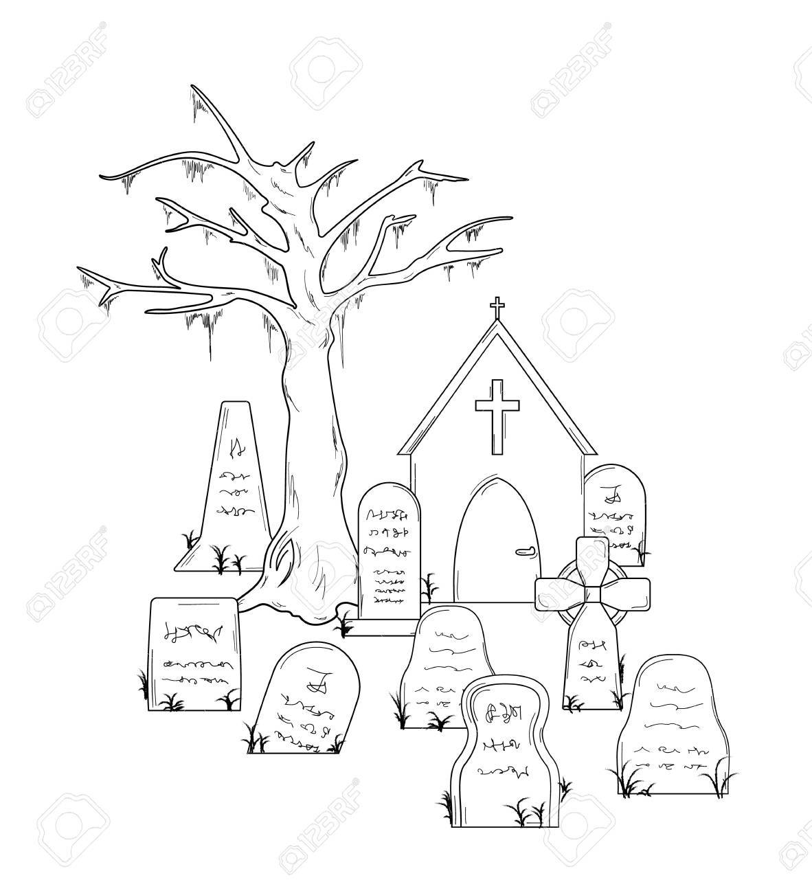 1182x1300 Cemetery With Graves On White Background, Isolated Royalty Free